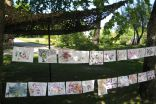 Childrens` paintings created in workshops